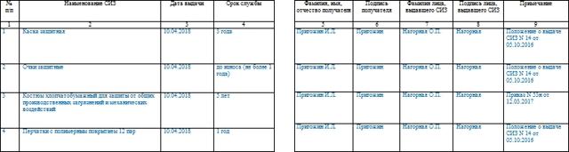 Личная карточка учета выдачи средств индивидуальной защиты: скачать бланк и образец, порядок заполнения при проверке СИЗ