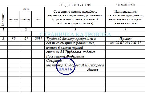 Увольнение в связи со смертью работника: как уволить умершего сотрудника, какие документы нужно оформить, образец приказа, записи в трудовой, дата расторжения