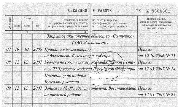 Исправление записей об увольнении в трудовой книжке: образец аннулирования при отмене, порядок внесения изменений и корректировка ошибочной даты