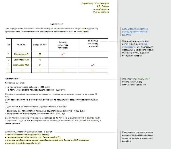 Заявление на вычет по НДФЛ на детей в 2018 году: скачать образец о предоставлении налоговой льготы по подоходному налогу, как написать, когда подавать повторно?