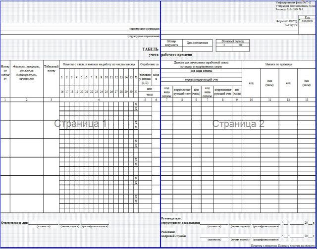 Обозначение в табеле учета рабочего времени: буквенные и цифровые условные коды и сокращения для форм Т-12, Т-13 и 0504421