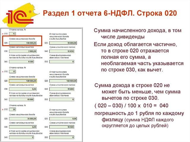 Строка 020 в 6-НДФЛ: какие суммы включать, что туда не входит, как правильно заполнить поле 20 раздела 1 – образец заполнения